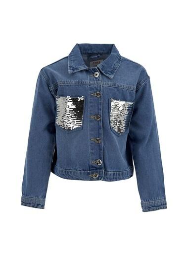 DeFacto Kız Çocuk Payetli Jean Ceket Mavi